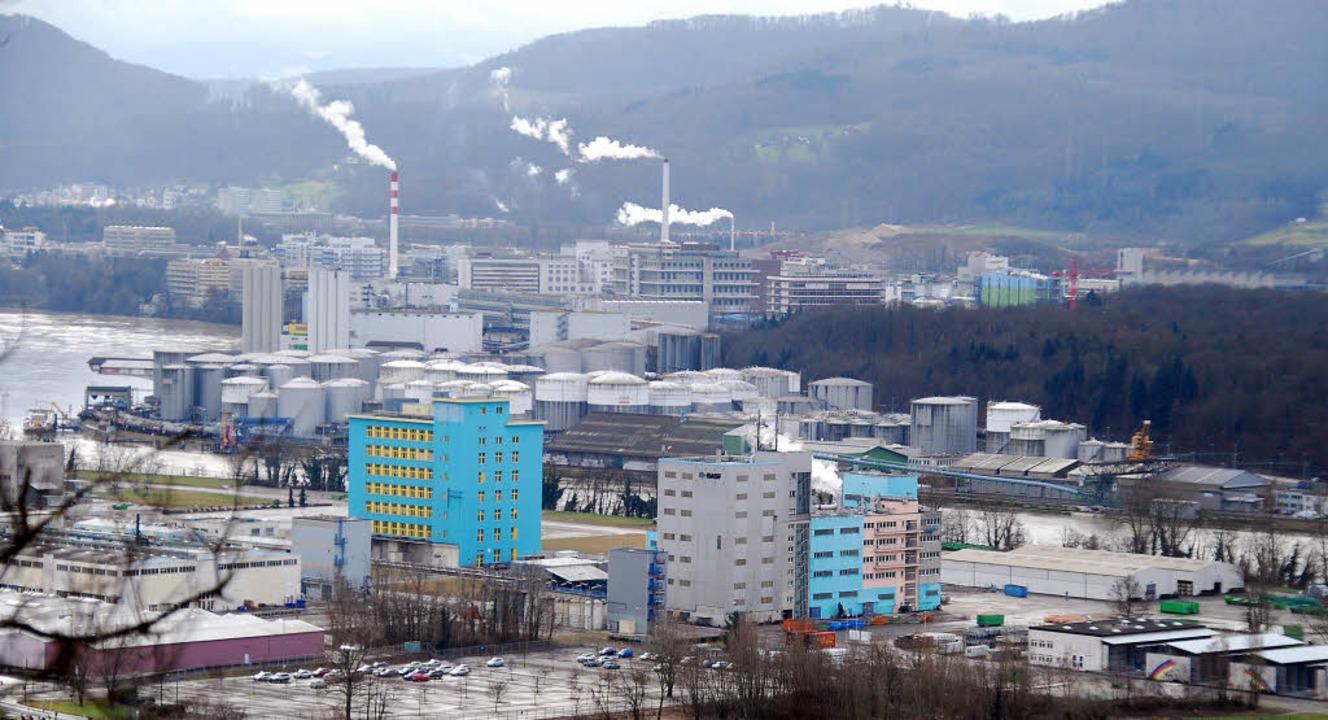 Blick auf das BASF-Areal vom Hornfelse...chweiz. Das Bild stammt vom März 2015.  | Foto: Ralf Staub