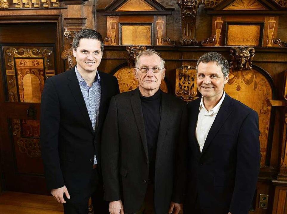 Marc Boyé, Reinhard Zähringer und Joch...führen die Geschäfte der Stadion-GmbH.  | Foto: Ingo Schneider