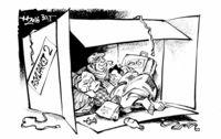 Fl�chtlingsfamilie ersch�pft und gl�cklich am Ziel.