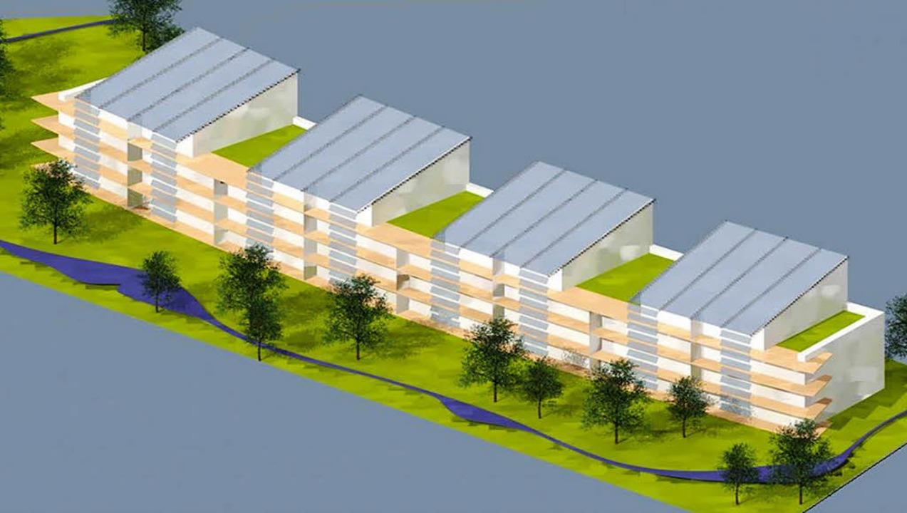 In leichter Kurvenform (links) präsent...die Firma Stuckert Wohnbau entworfen.   | Foto: Entwürfe: Rolf Disch/Stuckert Wohnbau