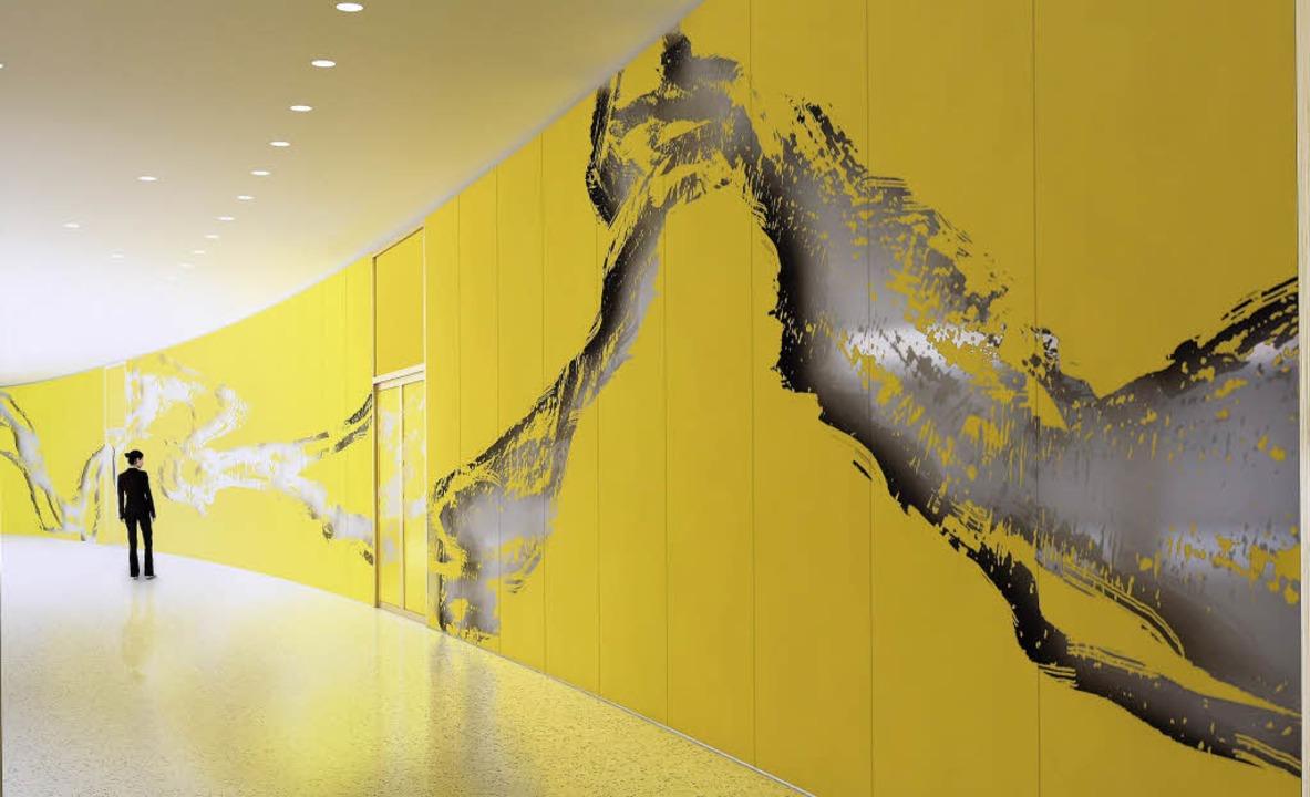 So soll die von Schirin Kretschmann ge...e Glaswand im neuen Rathaus aussehen.     Foto: repro: thomas kunz