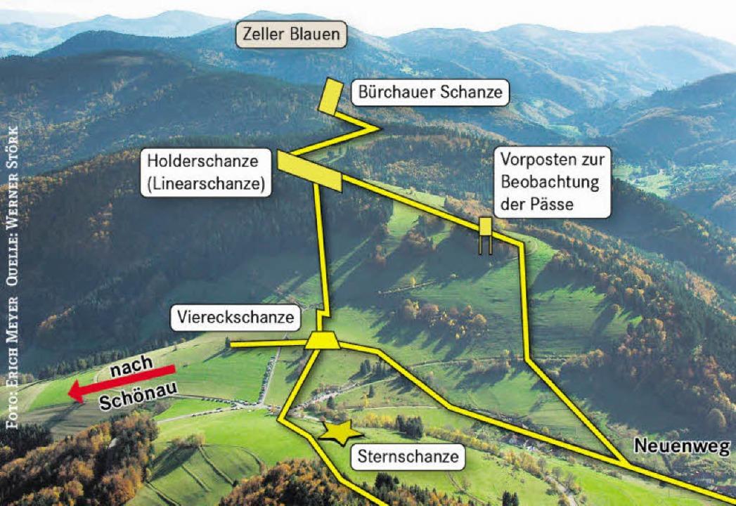 Blick vom Belchen in Richtung Süden. Gelb: Laufgräben zur Kommunikation  | Foto: Erich Meyer