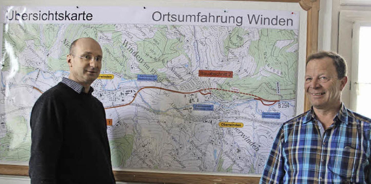 Auch ein paar Kilometer Umgehungsstraß...ro im früheren  Bahnhof Niederwinden.     Foto: Bernd Fackler