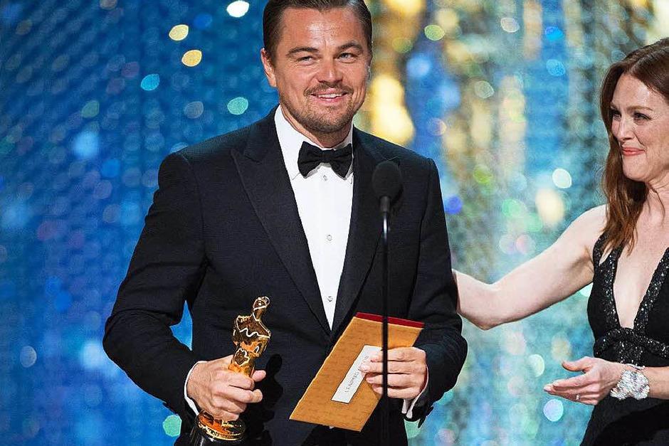 """Mit dem bildgewaltigen Abenteuerepos """"The Revenant"""" konnte sich Hollywoodstar DiCaprio als Hauptdarsteller den ersten Oscar seiner Karriere sichern. (Foto: dpa)"""