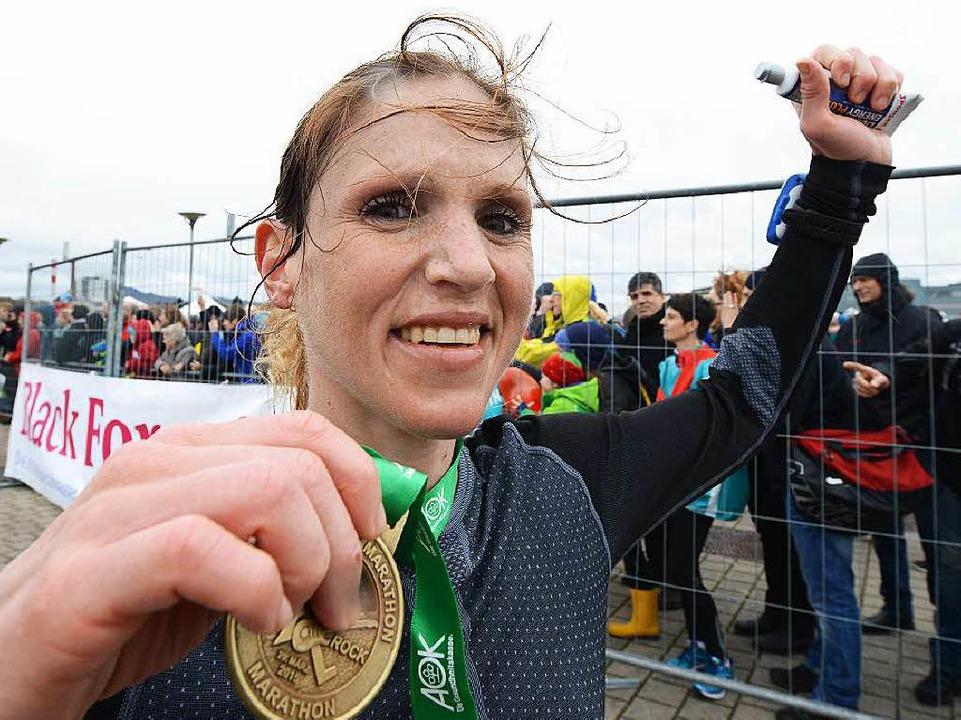 Ann-Katrin Hellstern belegte den zweit...tz der Frauen beim Freiburger Marathon    Foto: Patrick Seeger