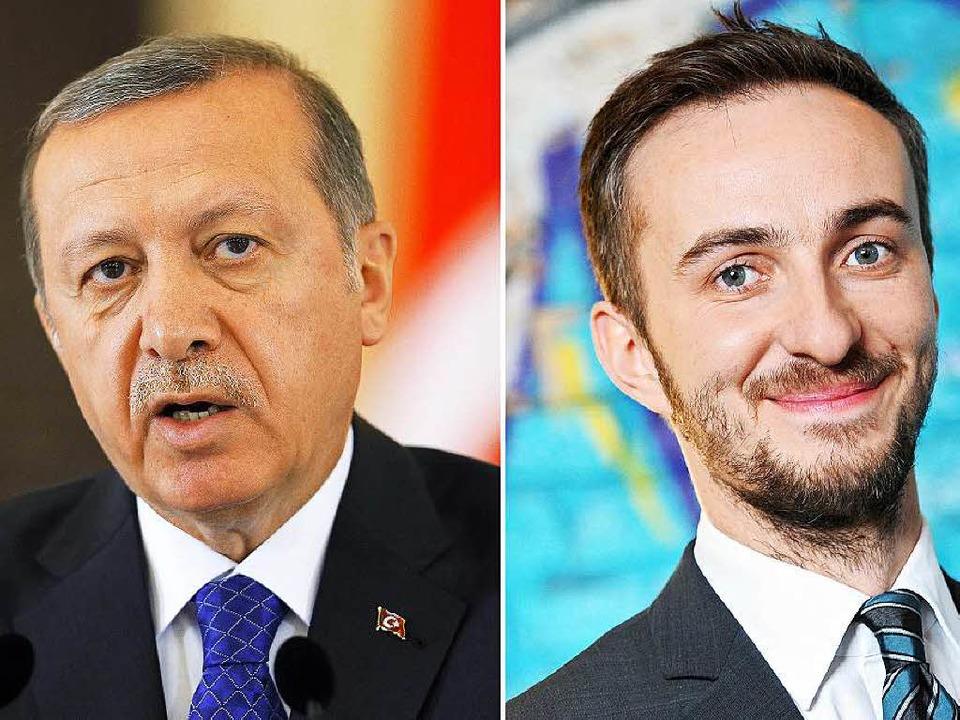Über diese beiden Herren sprechen mome...ip Erdogan (links) und Jan Böhmermann.    Foto: dpa