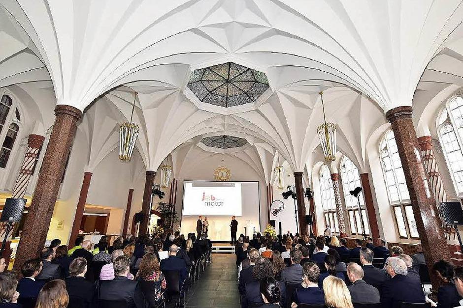Sehr gut besucht war die Jobmotor-Preisverleihung in der Meckelhalle der Sparkasse Freiburg-Nördlicher Breisgau (Foto: Thomas Kunz)