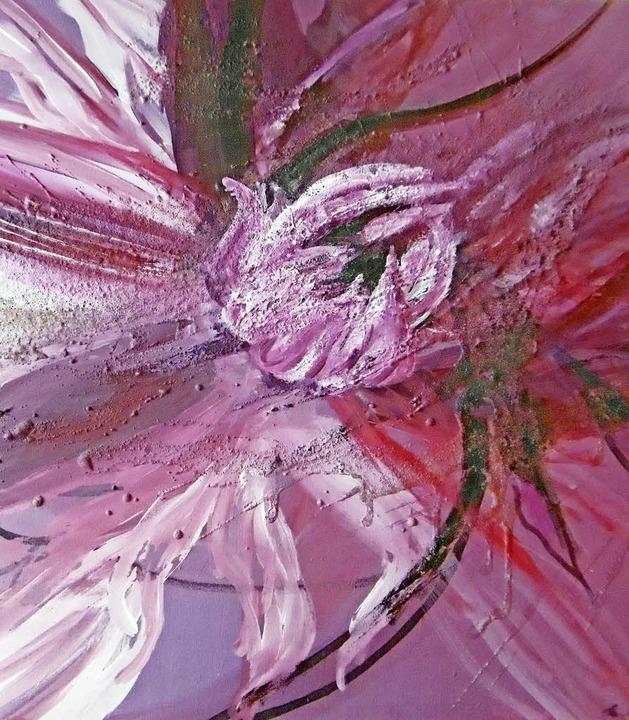 Dahlie –  Acryl auf Leinwand von Marianne Klaus     Foto: Privat