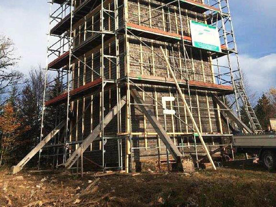 2014 wurde der Turm eingerüstet  | Foto: Stadt St. Blasien