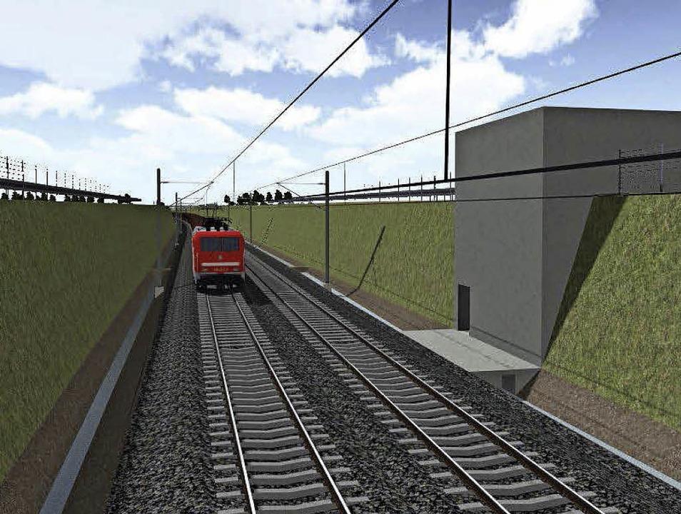Das Foto links zeigt die Trasse mit St...hts sieht man jeweils die Notausgänge.  | Foto: Grafiken: DB Netze