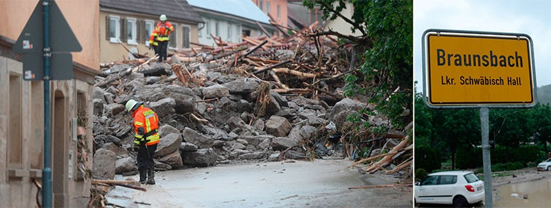 Drei Tote und viele Verletzte durch zerst�rerische �berschwemmungen in S�ddeutschland