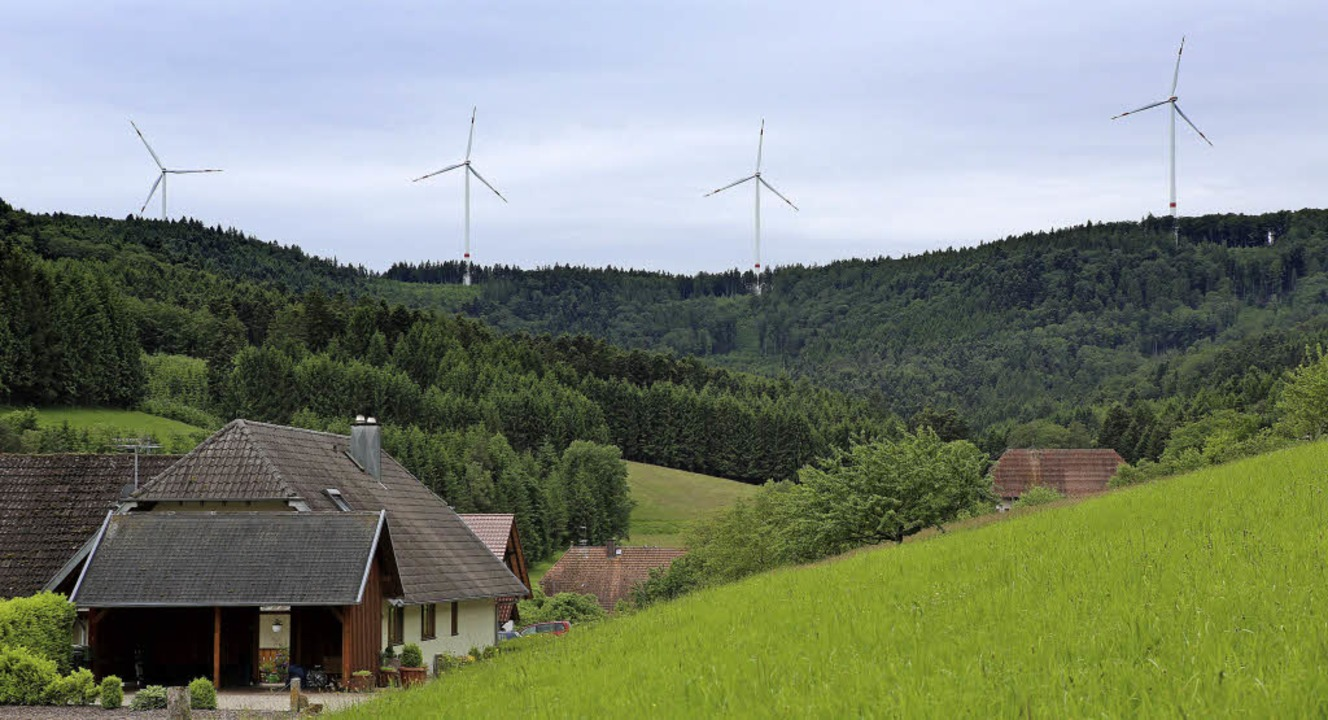 Einige der Windräder der insgesamt sie...elsbach vor allem nachts als zu laut.   | Foto: Christoph Breithaupt