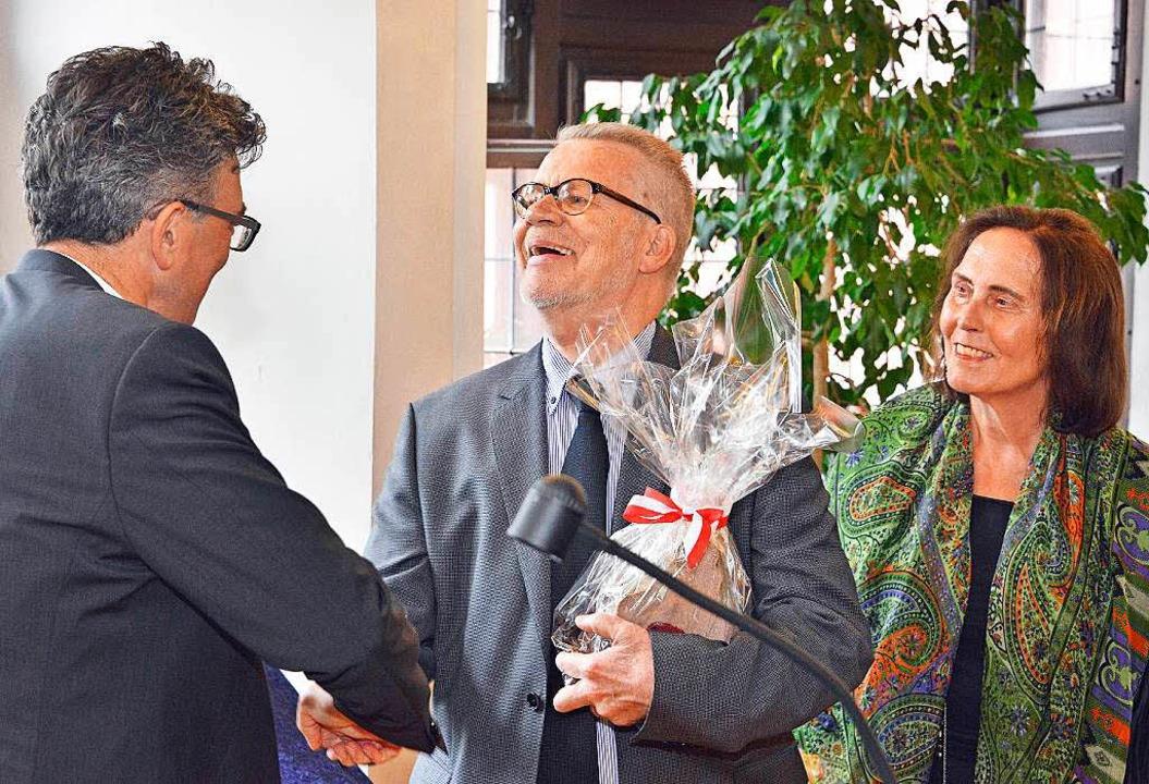 Oberbürgermeister Dieter Salomon (link...ine Preker alles Gute für die Zukunft.  | Foto: Michael Bamberger