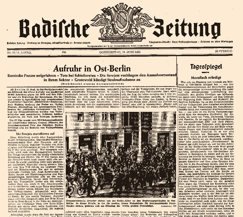 freiburg r ckblick der arbeiteraufstand in ost berlin sorgte f r das erste bild auf der. Black Bedroom Furniture Sets. Home Design Ideas