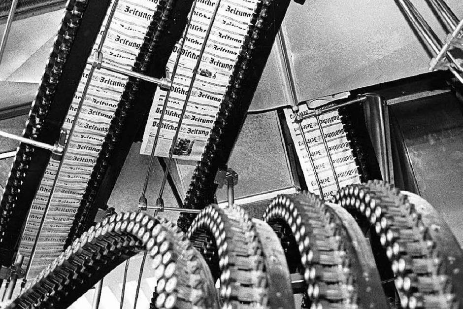 Technische Weltneuheit:   Diese Versandanlage des Badischen Verlages fügte die Produkte automatisch zur Tagesausgabe zusammen und legte die Prospekte ein, bevor sie die Zeitungen zählte, bündelte und verpackte. (Foto: Privat)