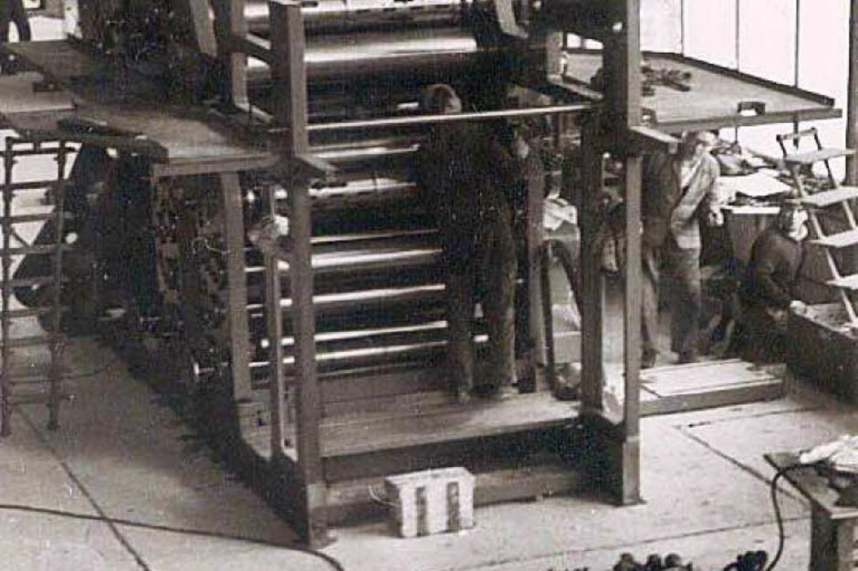 Die Zeitung von Morgen<rot>: </rot>Diese Druckmaschine  wurde in  der Mitte der 80er-Jahre durch eine neue Offsetrotation abgelöst. (Foto: Privat)