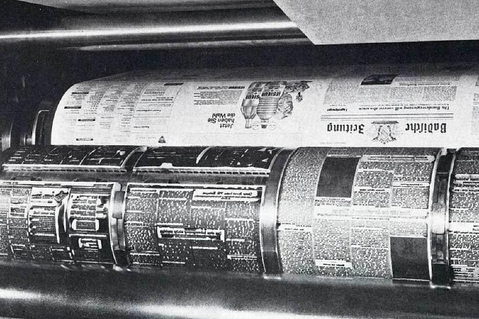 Aus der Bleizeit:Groß, grau und schwer – die  Badische Zeitung in den Zeiten des Bleisatzes auf der Rotationsmaschine. (Foto: BZ)