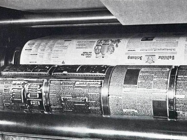 Aus der Bleizeit:Groß, grau und schwer - die  Badische Zeitung in den Zeiten des Bleisatzes auf der Rotationsmaschine.