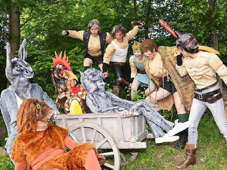 Die Bremer Stadtmusikanten lassen sich...n einer Räuberbande nicht erschrecken.  | Foto: Festspiele Breisach Nicole Fischer