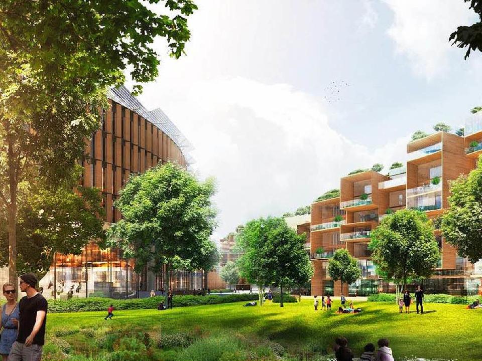 Der Stadtspitze zufolge braucht die Ve...nraum, Holz, Glas und Grün entstehen.   | Foto: Visualisierung: Büro Ingenhoven
