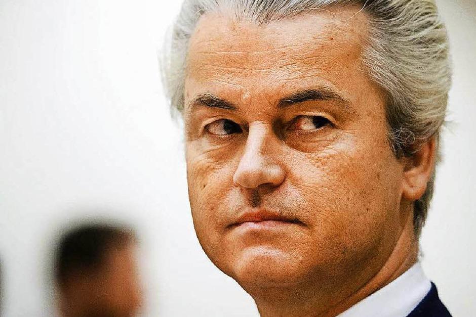 Auf das Ergebnis hat er gewartet: Der niederländische Rechtspopulist Geert Wilders fordert auch in seinem Land eine Volksabstimmung über den Verbleib in der EU. (Foto: dpa)