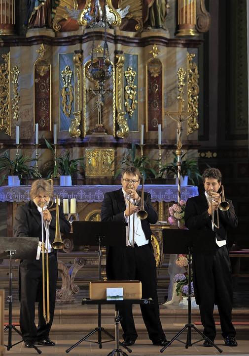 Stefan Wagner, Marton Palko und Joachi...ernen Nachbauten barocker Instrumente   | Foto: Sandra Decoux-Kone