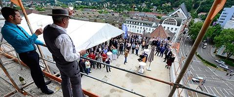 """Das """"Motel One"""" feiert Richtfest in Freiburg"""