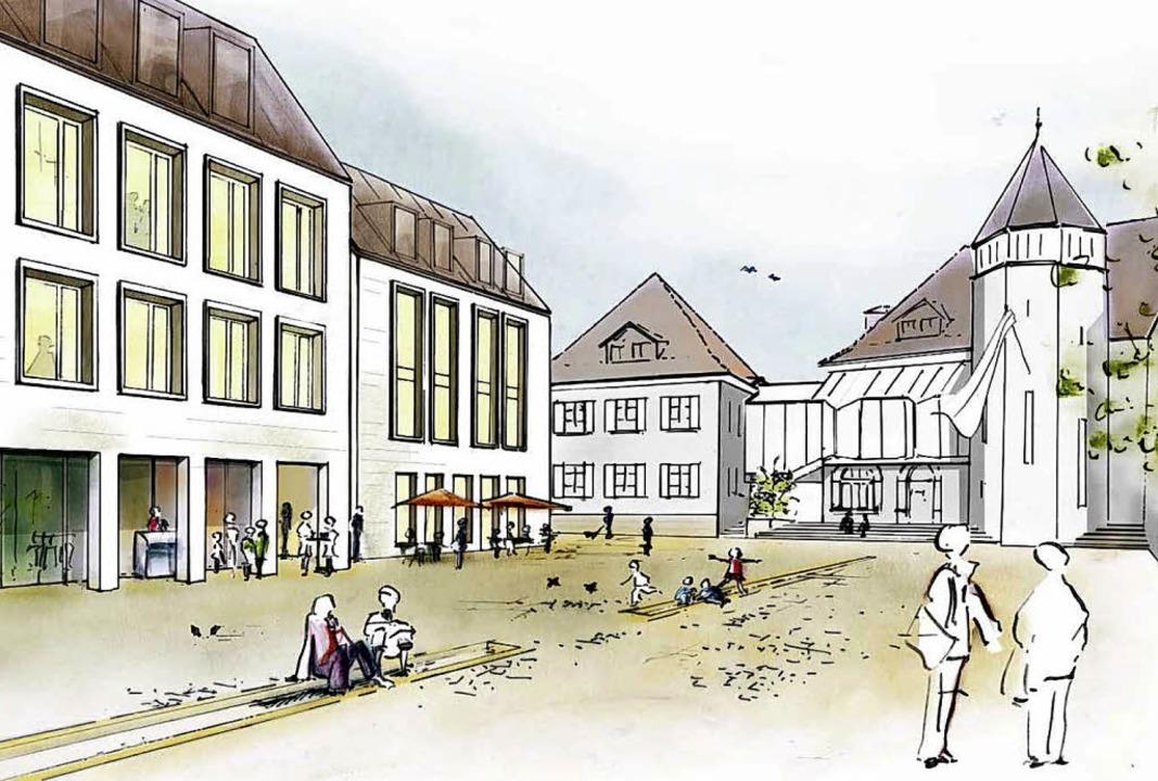 So stellen sich die Architekten den Bl...äfte, Gastronomie und Stadtverwaltung.  | Foto: Grafik: Architekturbüro dörr und Irrgang