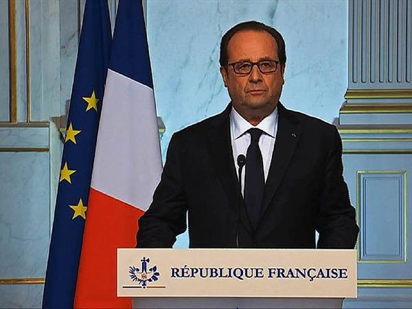 Francois Hollande bei seiner TV-Ansprache anlässlich des Anschlags