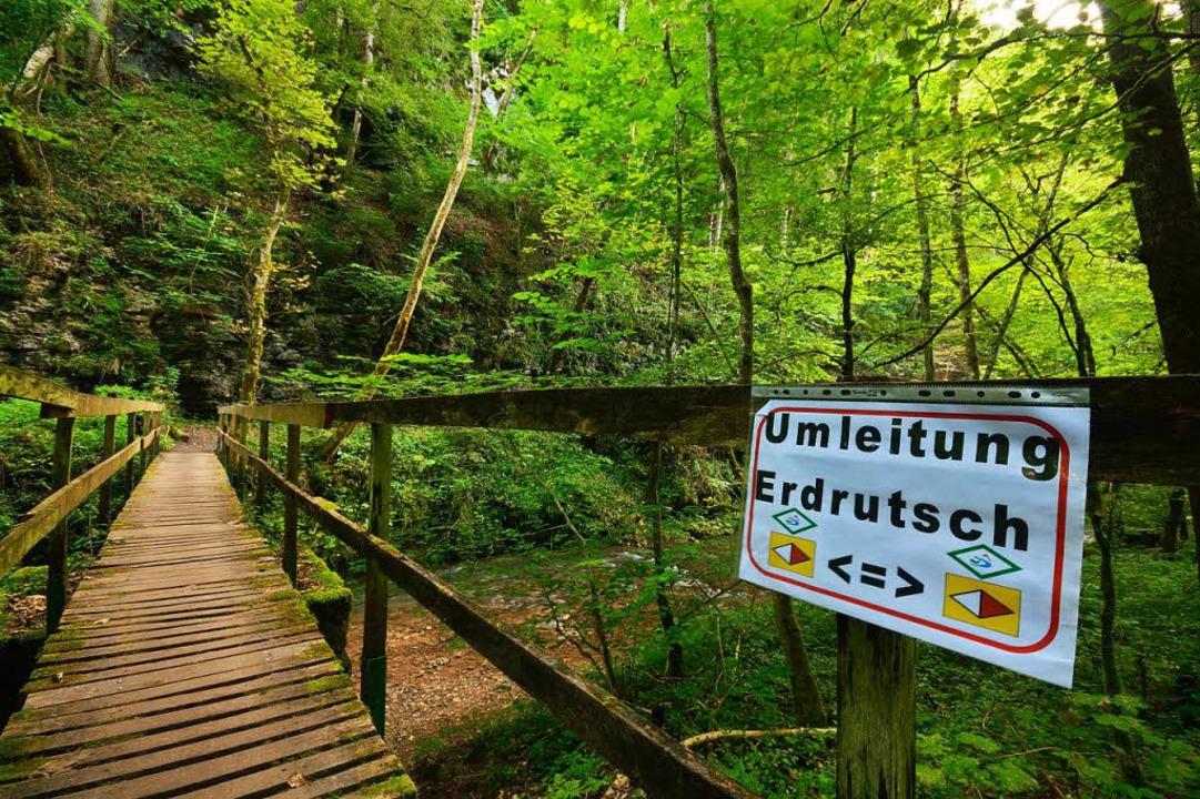 Immer der Raute nach: Die Umleitungsst...luchtenhalle und den Inselwirtskeller.  | Foto: Martin Schwenninger