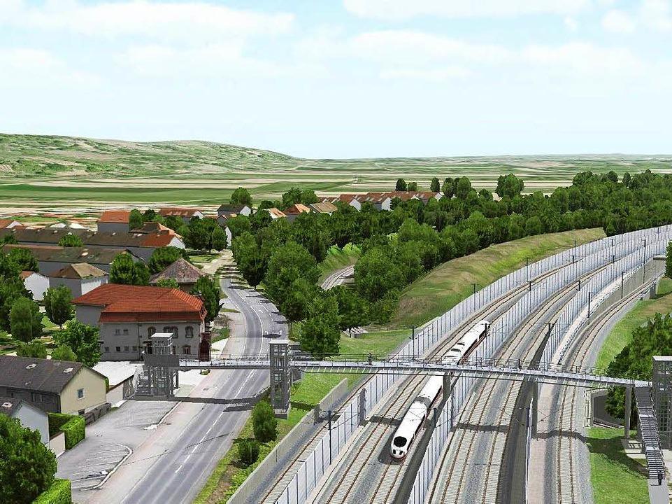 Dank neuer Gleise die Fahrzeiten verkü...on der Neubaustrecke bei Weil am Rhein    Foto: Deutsche Bahn