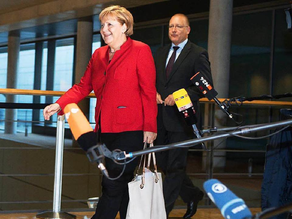 Kanzlerin Angela Merkel nach dem Treffen der Unionsspitzen  | Foto: dpa