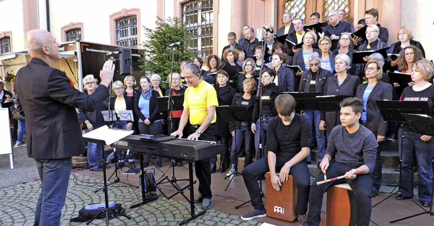 Der Kollnauer Chor Klangwerk.pop sang beim Klangkunst-Openair.  | Foto: Sylvia Sredniawa