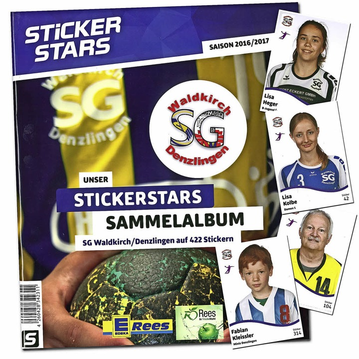 Das Album und seine Bilder – die...t Stickerstars aus seinen Sportlern.    | Foto: Montage: BZ