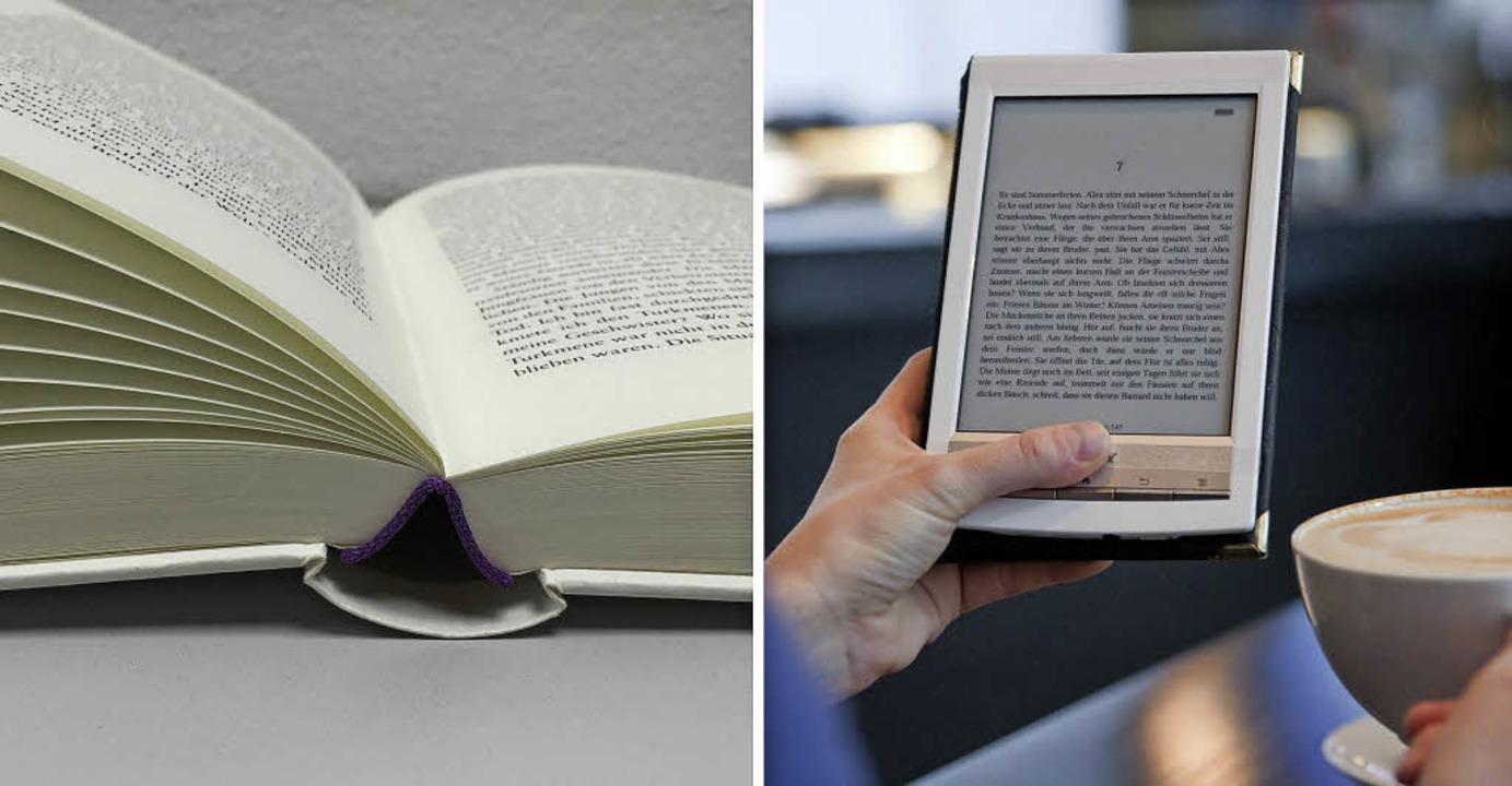Neben klassischen Büchern nutzen immer...ellen sich auch die Bibliotheken ein.   | Foto: Collage: Soboll / dpa