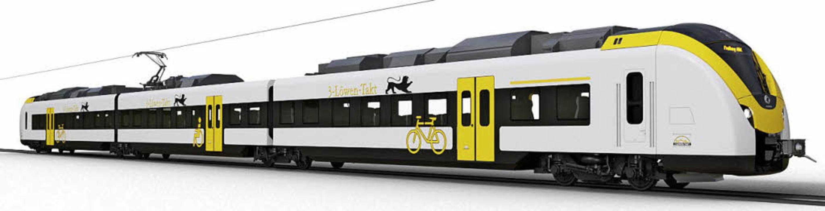 So wird der Zug aussehen, der ab 2019 ...em auf der Höllentalbahn fahren soll.   | Foto: Astom