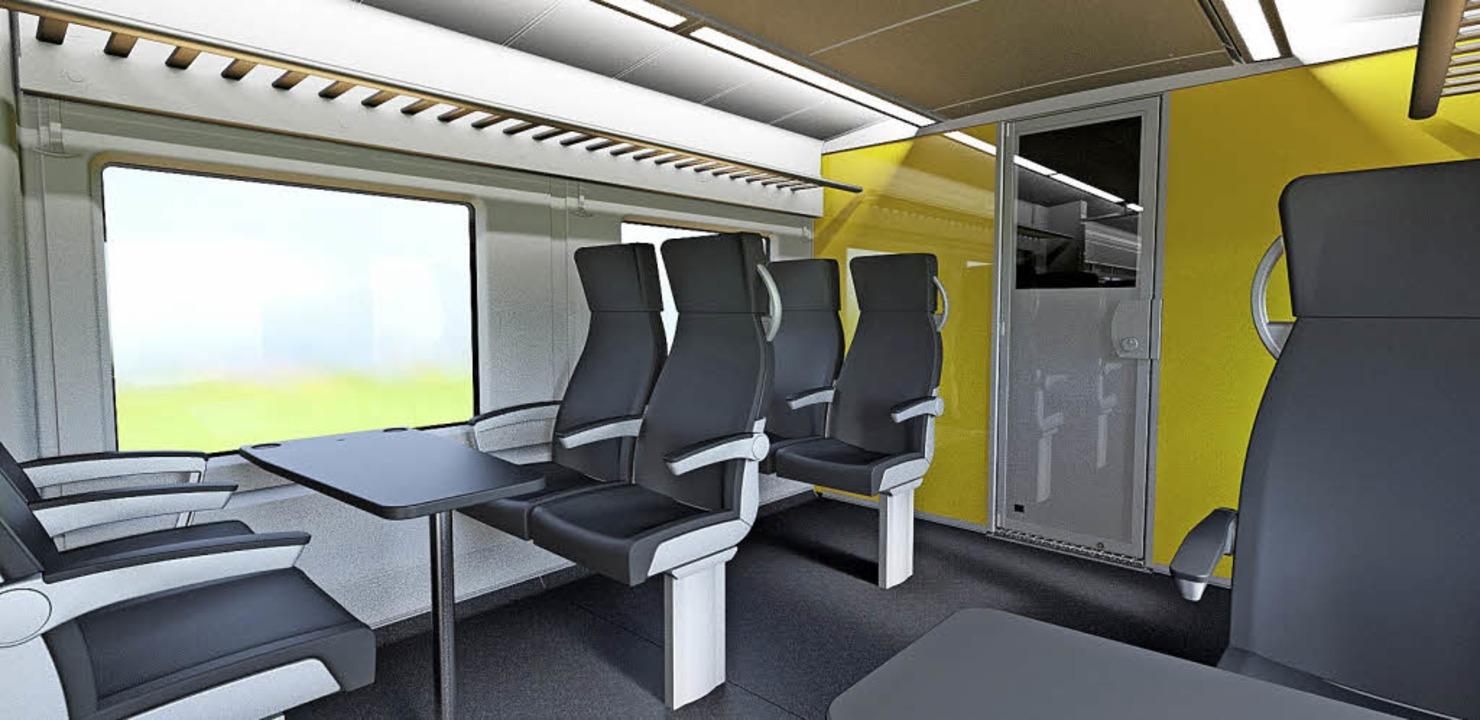 So soll der Innenraum der Züge aussehe...ein Abteil der ersten Klasse zu sehen.  | Foto: Alstom