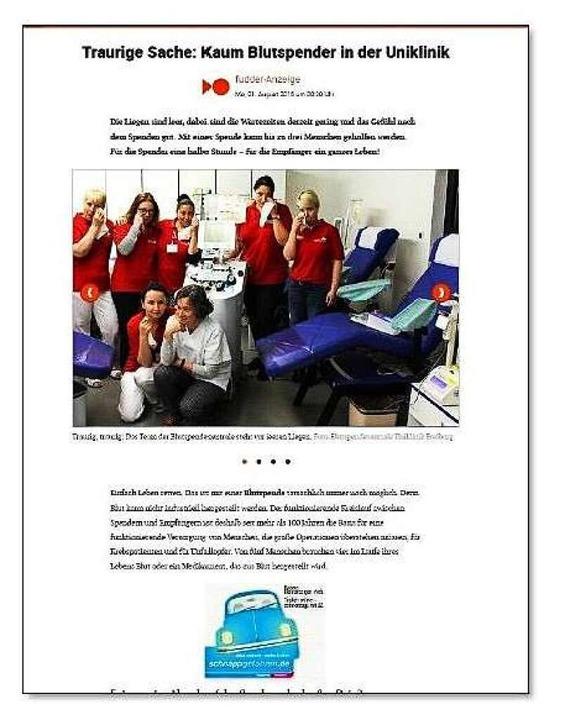 In der reinen Online-Kategorie setzte ...g mit ihrer Blutspende-Kampagne durch.    Foto: bz