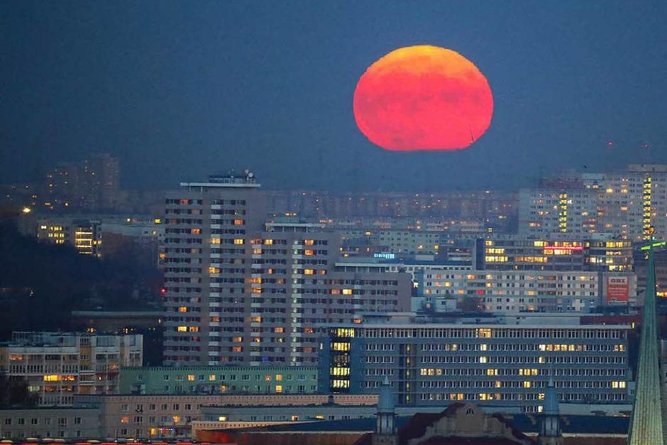 Mondaufgang über Berlin (Foto: dpa)