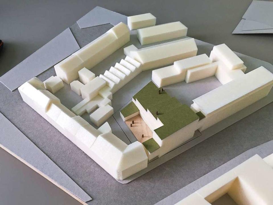 Das Modell des Crash-Areals, das eine ... grüne Dächer vorsieht, kam besser an.  | Foto: Architekten Hubert Burdenski und Max Munkel