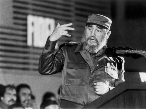 Fidel Castro 1988 bei einer Rede in Havanna