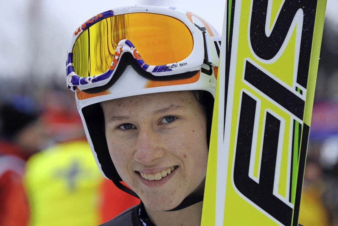 Unaufgeregt sympathisch: Skispringerin...t in Lillehammer mit der Weltelite ab.  | Foto: patrick seeger