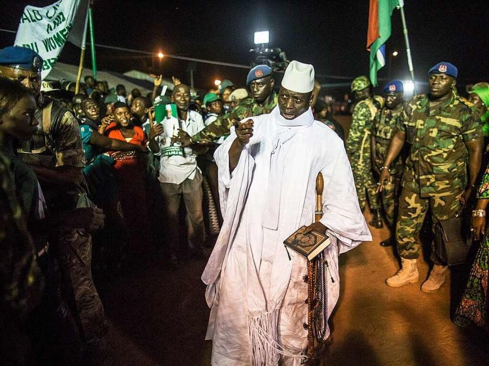 Gambias Präsident Yahya Jammeh bei einer Wahlveranstaltung im November  | Foto: AFP