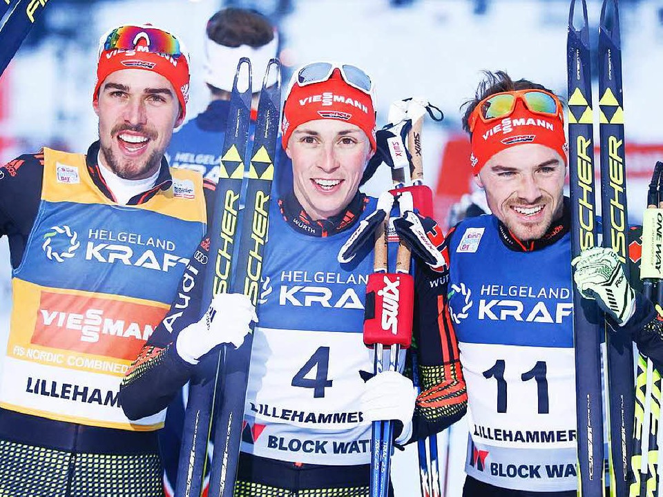 Das deutsche Erfolgstrio (von links): ...dzek,  Eric Frenzel und Fabian Riessle  | Foto: AFP