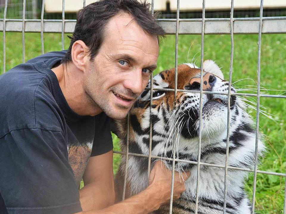 Raubtiertrainer Christian Walliser mit einem seiner Tiger.  | Foto: Martin Wunderle