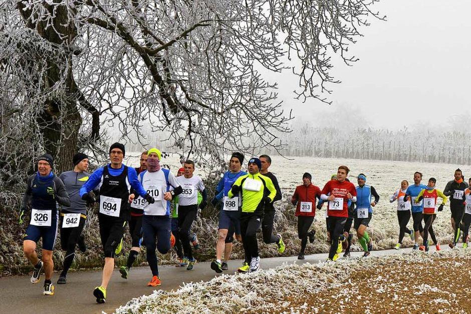 Raureif und Nebel. Fast mystisch war die Stimmung beim 32. Silvesterlauf im Müllheimer Ortsteil Britzingen. (Foto: Daniel Thoma)