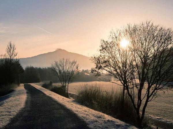Einen besonderen Moment hat  Jürgen Bahls  beim Rückhaltebecken in Kuhbach  eingefangen. Seine Aufnahme zeigt  die winterliche Morgenstimmung mit dem Blick auf die Burgruine Lützelhardt oberhalb von Seelbach.