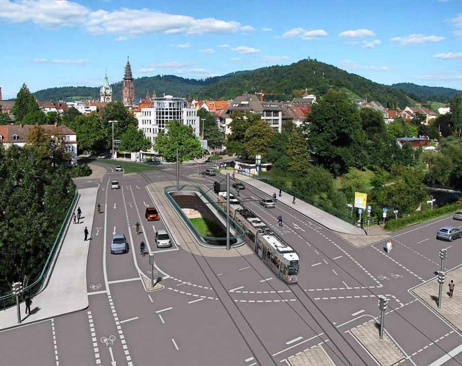Schlanker und mit Straßenbahn: So soll...ue Kronenbrücke im Jahr 2018 aussehen.  | Foto: Stadt Freiburg