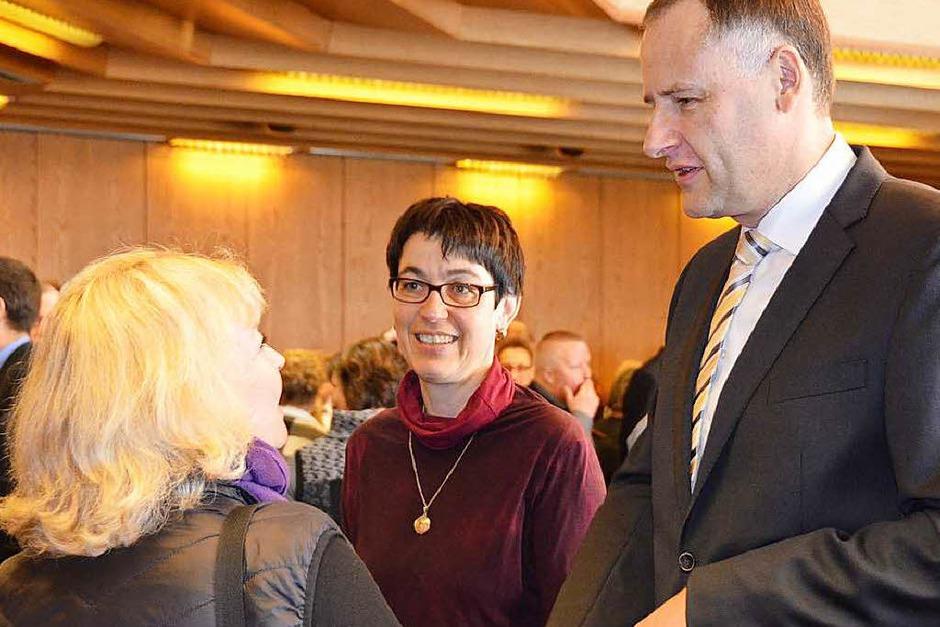 Bürgermeister Thomas Breig und Gattin begrüßen die Gäste (Foto: Andrea Gallien)