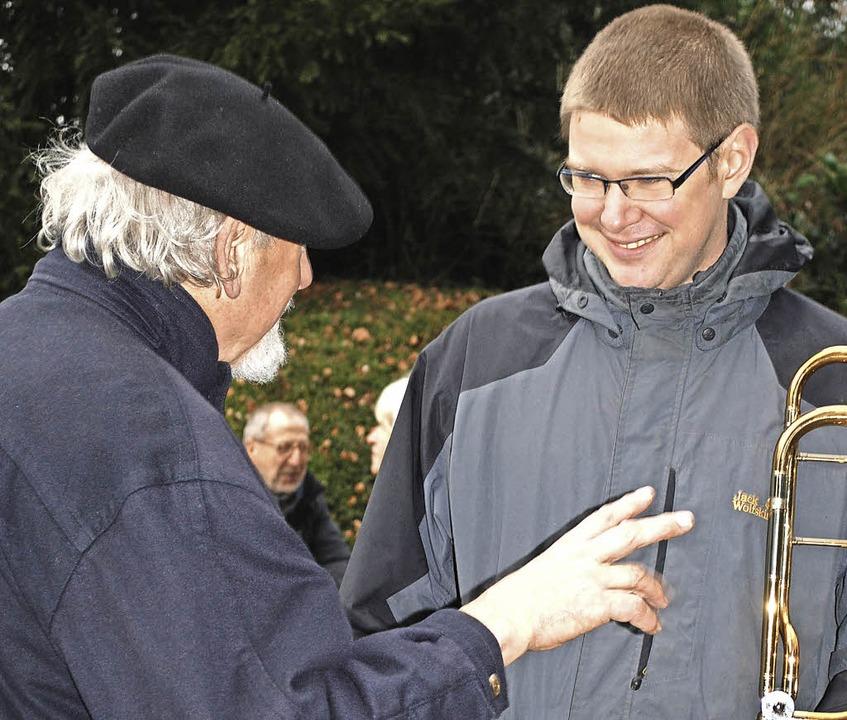 Fachsimpelei: Jens Uhlenhoff im Gesprä... Musical-Protagonisten, geforscht hat.  | Foto: Sylvia-Karina Jahn
